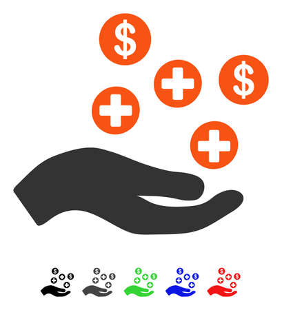 Hand Offer Medical Service flat vector pictograph with colored versions. Color hand offer medical service icon variants with black, gray, green, blue, red.