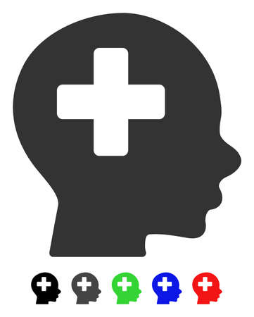 Head Medicine flat vector illustration with colored versions. Color head medicine icon variants with black, gray, green, blue, red.