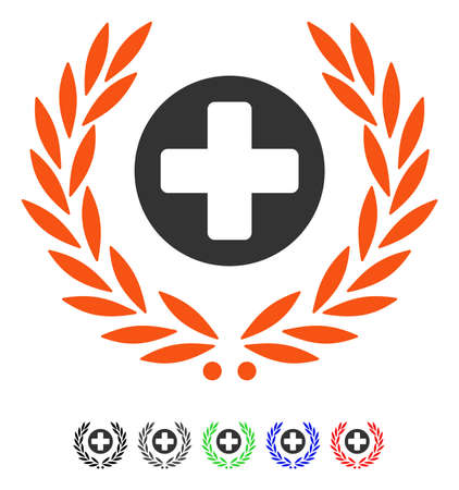 Health Care Embleme flat vector illustration with colored versions. Color health care embleme icon variants with black, gray, green, blue, red.
