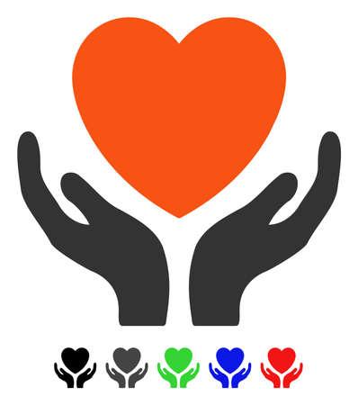 Ilustração em vetor plana coração cuidados com versões coloridas. Variantes de ícone de cuidados de coração de cor com preto, cinza, verde, azul, vermelho. Foto de archivo - 82727595