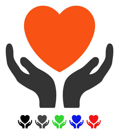 Heart Care flat vector illustration with colored versions. Color heart care icon variants with black, gray, green, blue, red.