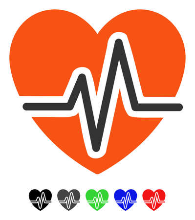 Heart Diagram flat vector illustration with colored versions. Color heart diagram icon variants with black, gray, green, blue, red. Illustration