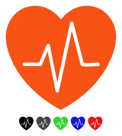 health care analytics: Heart EKG flat vector pictograph with colored versions. Color heart ekg icon variants with black, gray, green, blue, red.