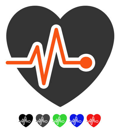 Heart Pulse flat vector icon with colored versions. Color heart pulse icon variants with black, gray, green, blue, red.