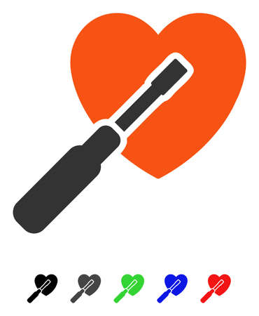 Heart Tuning flat vector icon with colored versions. Color heart tuning icon variants with black, gray, green, blue, red.