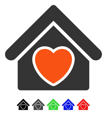 Hospice flat vector icon with colored versions. Color hospice icon variants with black, gray, green, blue, red.
