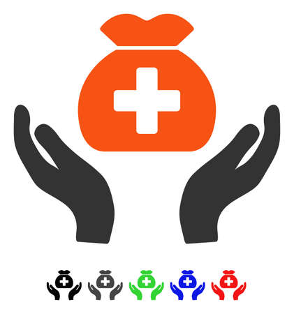 Medical Fund Care Hands flat vector illustration with colored versions. Color medical fund care hands icon variants with black, gray, green, blue, red. Illustration