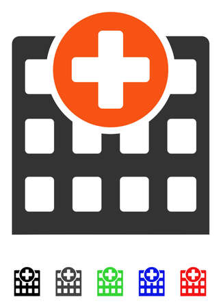 polyclinic: Hospital flat vector illustration with colored versions. Color hospital icon variants with black, gray, green, blue, red.