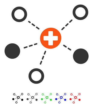 Medical Links flat vector pictogram with colored versions. Color medical links icon variants with black, gray, green, blue, red.