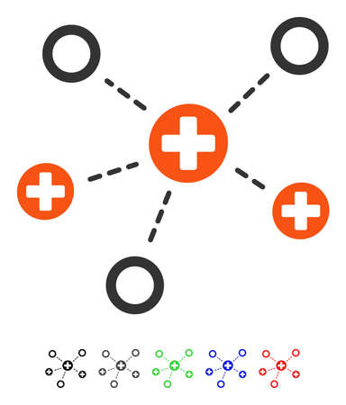 Medical Links flat vector icon with colored versions. Color medical links icon variants with black, gray, green, blue, red.