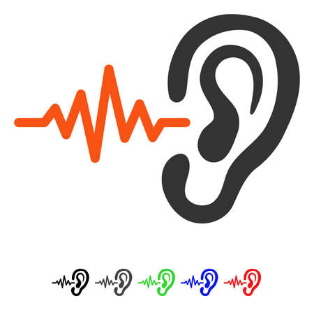 Listen flat vector pictogram with colored versions. Color listen icon variants with black, gray, green, blue, red. Иллюстрация