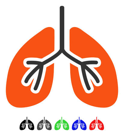 Lungs flat vector icon with colored versions. Color lungs icon variants with black, gray, green, blue, red.