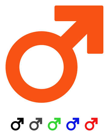 Male Symbol flat vector pictogram with colored versions. Color male symbol icon variants with black, gray, green, blue, red.