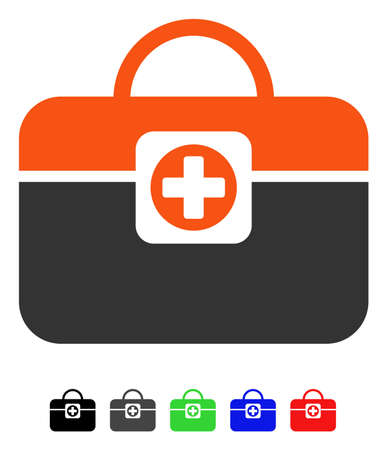 new addition: Medic Case flat vector pictograph with colored versions. Color medic case icon variants with black, gray, green, blue, red.