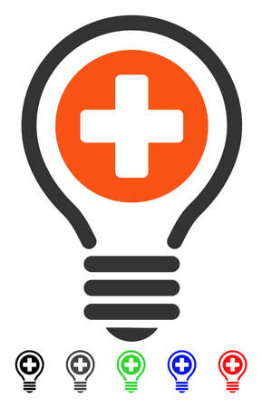 new addition: Medical Bulb flat vector illustration with colored versions. Color medical bulb icon variants with black, gray, green, blue, red.