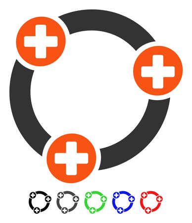 Medical Collaboration flat vector pictograph with colored versions. Color medical collaboration icon variants with black, gray, green, blue, red.