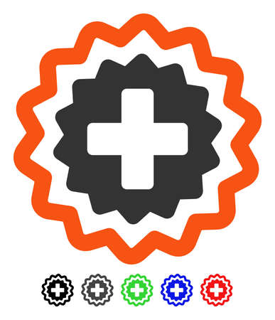 Medical Cross Stamp flat vector pictogram with colored versions. Color medical cross stamp icon variants with black, gray, green, blue, red.