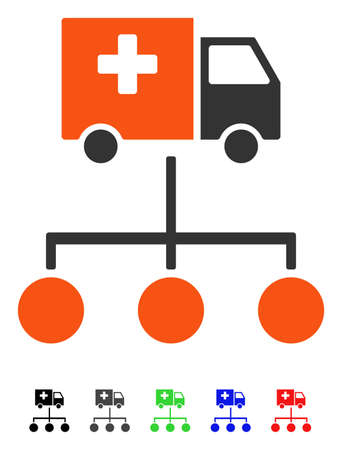 subsidiary: Medical Delivery Links flat vector illustration with colored versions. Color medical delivery links icon variants with black, gray, green, blue, red.