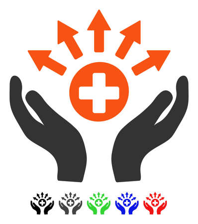 Medical Distribution Care Hands flat vector pictograph with colored versions. Color medical distribution care hands icon variants with black, gray, green, blue, red. Illustration