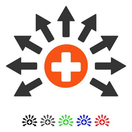 Medical Distribution flat vector illustration with colored versions. Color medical distribution icon variants with black, gray, green, blue, red.