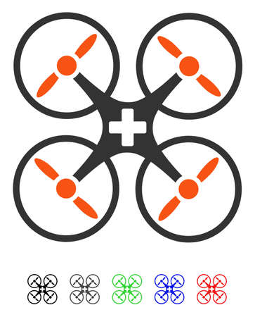 Medical Drone flat vector illustration with colored versions. Color medical drone icon variants with black, gray, green, blue, red.