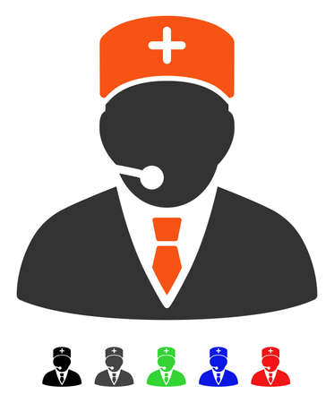 Medical Manager flat vector icon with colored versions. Color medical manager icon variants with black, gray, green, blue, red.