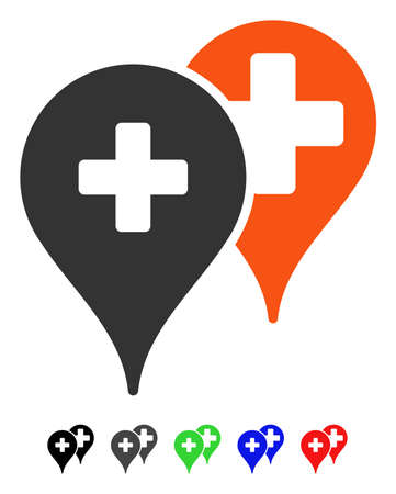 Medical Map Markers flat vector pictogram with colored versions. Color medical map markers icon variants with black, gray, green, blue, red. Illustration
