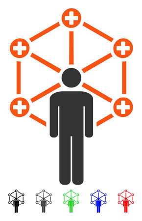 moderator: Medical Network Administrator flat vector icon with colored versions. Color medical network administrator icon variants with black, gray, green, blue, red.