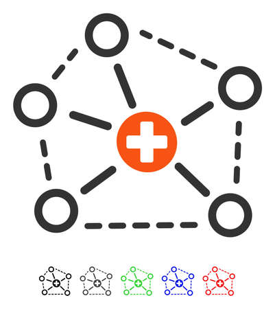 Medical Network Structure flat vector pictograph with colored versions. Color medical network structure icon variants with black, gray, green, blue, red.