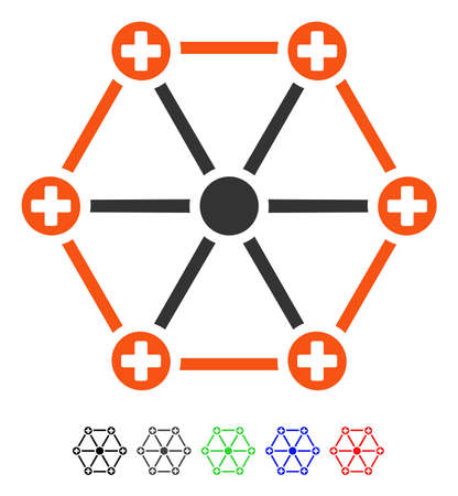 Medical Network flat vector pictograph with colored versions. Color medical network icon variants with black, gray, green, blue, red.