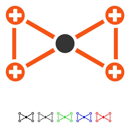 Medical Nodes flat vector pictograph with colored versions. Color medical nodes icon variants with black, gray, green, blue, red.