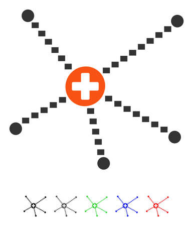 Medical Relations flat vector pictograph with colored versions. Color medical relations icon variants with black, gray, green, blue, red.