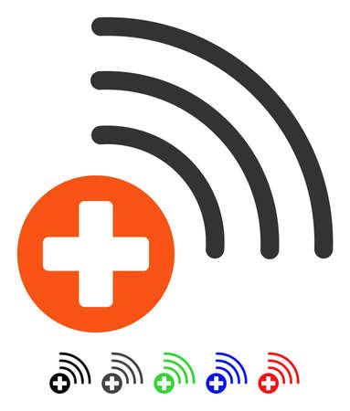 Medical Source flat vector illustration with colored versions. Color medical source icon variants with black, gray, green, blue, red.