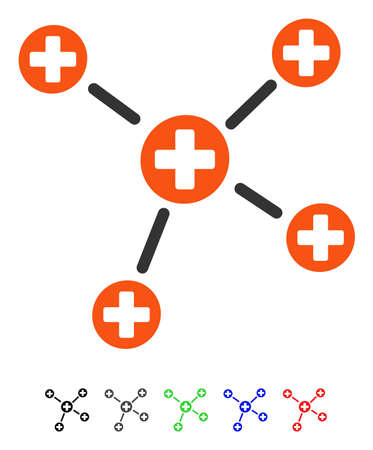 Medicine Links flat vector illustration with colored versions. Color medicine links icon variants with black, gray, green, blue, red. Illustration