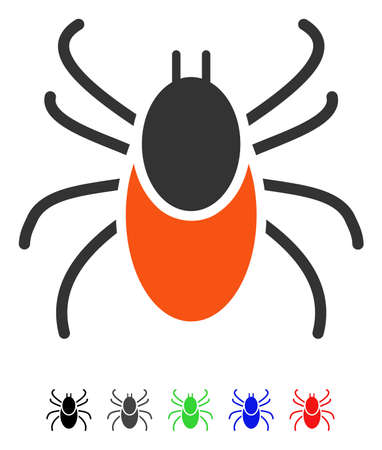 Mite flat vector pictogram with colored versions. Color mite icon variants with black, gray, green, blue, red.