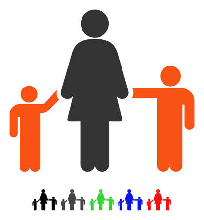 Mother And Children flat vector pictogram with colored versions. Color mother and children icon variants with black, gray, green, blue, red. Vektorové ilustrace