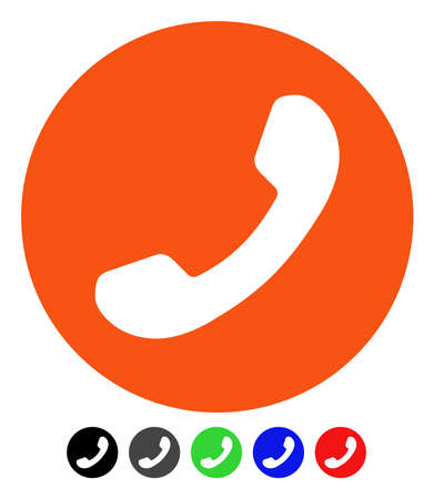 Phone Number flat vector icon with colored versions. Color phone number icon variants with black, gray, green, blue, red.