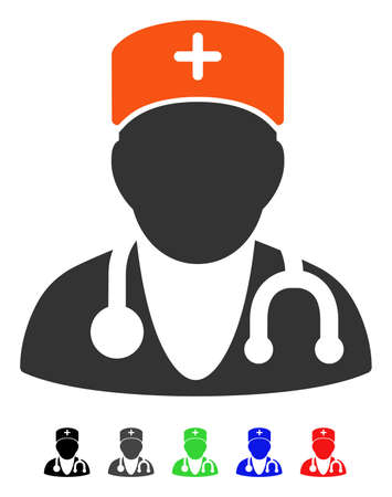 Physician flat vector icon with colored versions. Color physician icon variants with black, gray, green, blue, red. Illustration