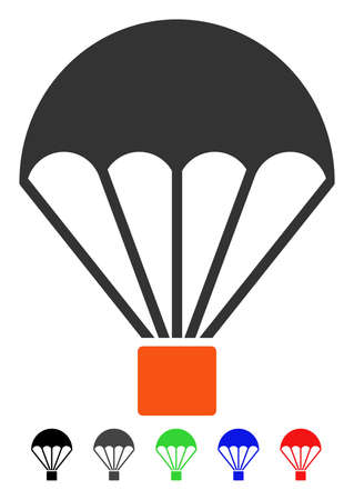 Parachute flat vector pictograph with colored versions. Color parachute icon variants with black, gray, green, blue, red.