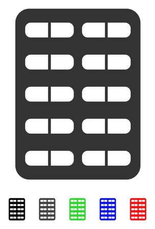 Pil Blister platte vector pictogram met gekleurde versies. Kleurenpillen blister pictogram varianten met zwart, grijs, groen, blauw, rood. Stock Illustratie