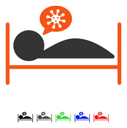 Patient Bed flat vector pictogram with colored versions. Color patient bed icon variants with black, gray, green, blue, red.