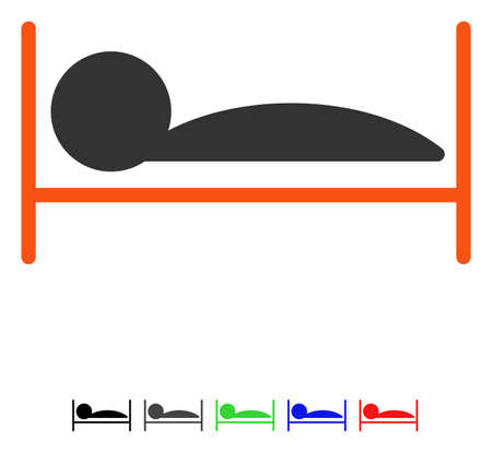 Patient Bed flat vector illustration with colored versions. Color patient bed icon variants with black, gray, green, blue, red. Illustration
