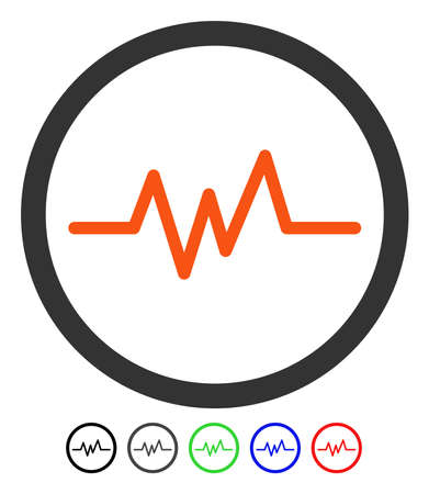 Pulse Monitoring flat vector illustration with colored versions. Color pulse monitoring icon variants with black, gray, green, blue, red.