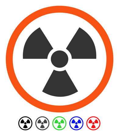 Radiation Danger flat vector pictogram with colored versions. Color radiation danger icon variants with black, gray, green, blue, red.