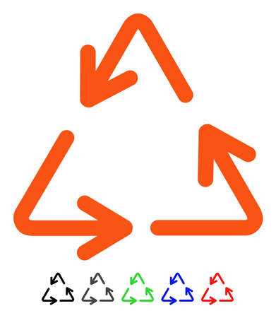 Recycle Arrows flat vector pictogram with colored versions. Color recycle arrows icon variants with black, gray, green, blue, red.