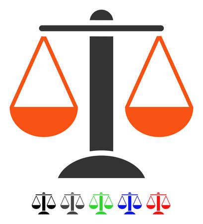 Scales flat vector pictogram with colored versions. Color scales icon variants with black, gray, green, blue, red.