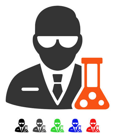 Scientist flat vector pictogram with colored versions. Color scientist icon variants with black, gray, green, blue, red.