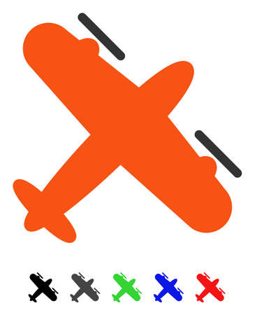 Screw Aeroplane flat vector illustration with colored versions. Color screw aeroplane icon variants with black, gray, green, blue, red.