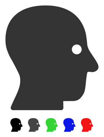 silent: Silent Head flat vector illustration with colored versions. Color silent head icon variants with black, gray, green, blue, red. Illustration