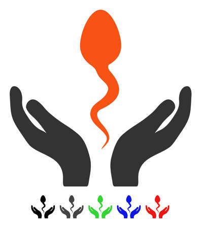 Sperm Care Hands flat vector pictograph with colored versions. Color sperm care hands icon variants with black, gray, green, blue, red.